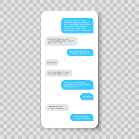 Mobile phone chat. Messenger template. Smartphone message Stock Illustratie