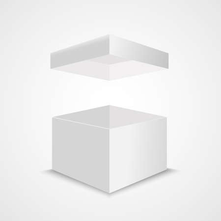 White open box mock up. Realistic vector cardboard cube with flying lid. Empty package surprise blank box Stock Illustratie
