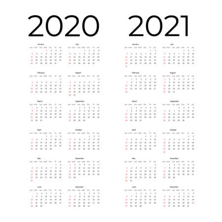 Calendar template set for 2020, 2021 years. Week starts on Monday Simple editable vertical vector calender.