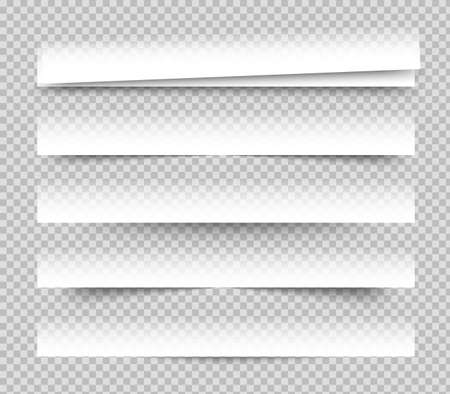 Empty white banners with shadow. Paper blurb banner. Web vector header. Interface with gray shade. Blank stickers set