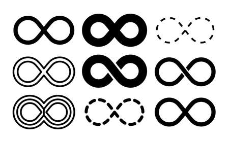 Infinity symbol. Mobius infinite arrow icon set. Endless thin linear image. Vector repetition and unlimited logo Stock Illustratie