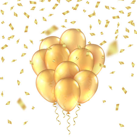 Gold balloon background. Golden realistic 3D balloons foil glitter mockup. Vector anniversary background.