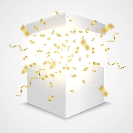 Open box with golden confetti. Giftbox surprise concept. Vector realistic prize container Illustration