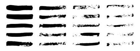Grunge brush vector set. Paintbrush shape collection. Black ink horizontal stroke shape