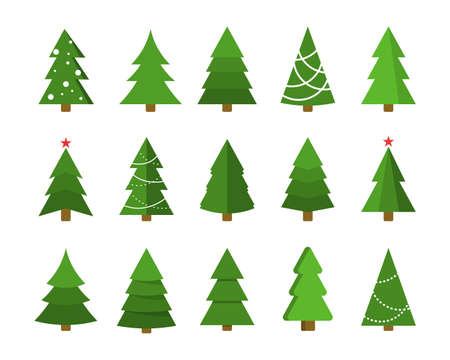 Christmas tree flat icon set. Xmas cartoon craft collection. Vector new year winter holiday desing element Stock Illustratie