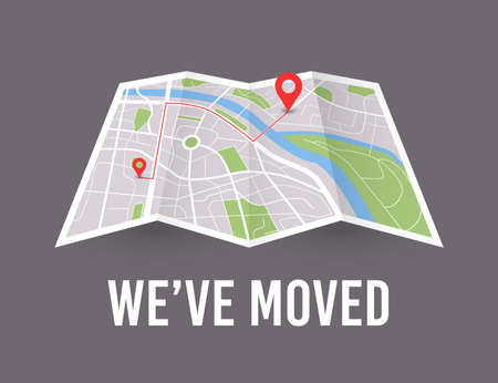 We have moved. Map wit pin pointer. Vector new office icon location Stock Illustratie