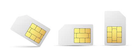 Sim card vector mobile phone icon chip. Vector cellphone simcard set