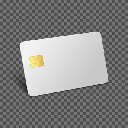 Credit card mockup. Debit 3D realistic vector bank blank card. Vector plastic empty chip card Illustration