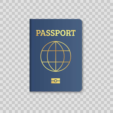 International passport cover red and blue template. Vector biometric citizen passports cover with map