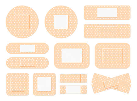 Medical plaster. First aid band plaster strip medical patch. Wound cross plastering band and porous bandage plasterers