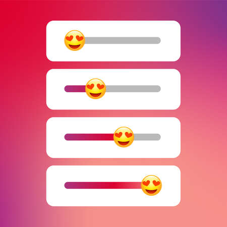 Answer slider. Stories emoji poll template. Vector story ui app concept