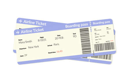 Airplane tickets. Air plane flight boarding pass.