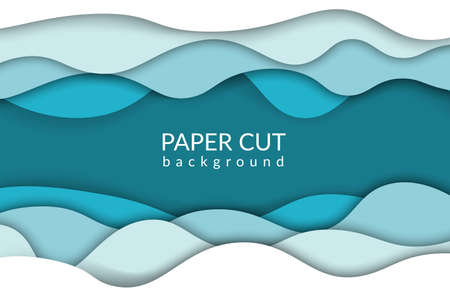 Paper cut background. Blue river wave papercut trendy design. Vector origami ocean waves