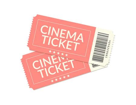 Cinema ticket. Movie vintage coupon. Vector realistic