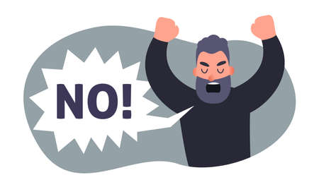 Angry man screaming NO. Carton people protest concept. Vector disagree person. Negative emotion. Stock Illustratie