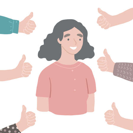 Young happy successful respected woman Hands with thumbs up around. Vector people approve concept. Illustration