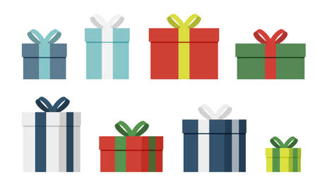 Gift box. Present boxes wrapped flat vector set. Empty giftbox sale or holiday design Illustration