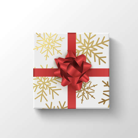 Gift box top view. Wrapped realistic present box with red ribbon. Holiday or sale christmas concept Illustration