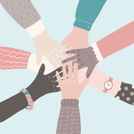 People putting their hands together. Teamwork support partnership vector concept. Social movement flat cartoon illustration