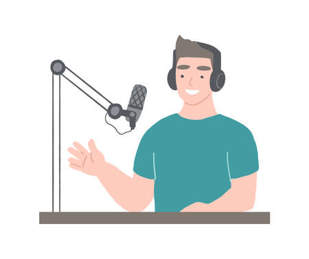 Podcaster at workspace. Man with headphones is hosting podcast. Broadcasting concept Illustration