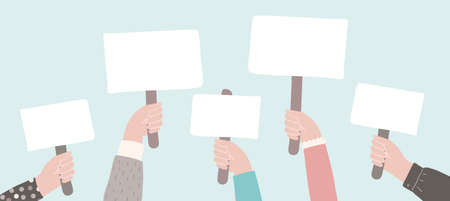 Protest or picket. People holding signs. Activists against descrimination. Vector flat demonstration concept Illustration