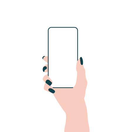 Hand with smartphone. Empty mobile phone screen flat concept. Illustration