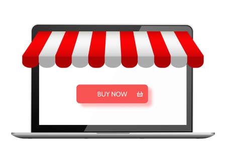 Online store. Digital marketing, vector shop. E-commerce shopping concept. Buy now button on laptop