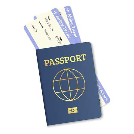 International passport with plane tickets. Realistic vector travel citizenship document.