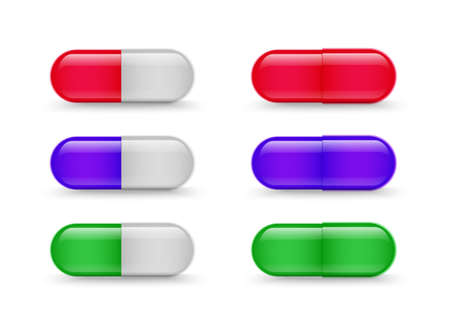 Capsules. Medical drugs collection. Vector realistic medicine antibiotics or vitamin set