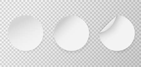 Circle adhesive mockup. Round stickers. Vector circular sticker set. Realistic 3D blanck white label template 向量圖像