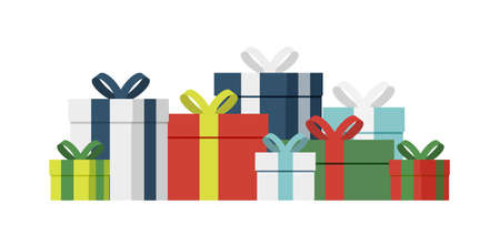 Gift box. Present boxes wrapped flat vector set. Empty giftbox sale or holiday design Illusztráció
