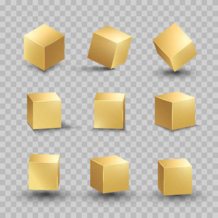 Golden cube. Gold box metallic shape. Vector square block set.