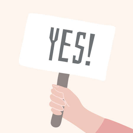 Yes banner in comic human hand. Correct answer sign. Right decision cartoon vector concept.
