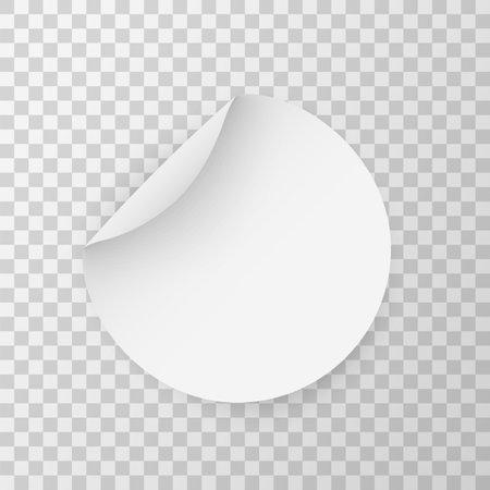 Circle adhesive mockup. Round stickers. Vector circular sticker set. Realistic 3D blanck white label template Illusztráció
