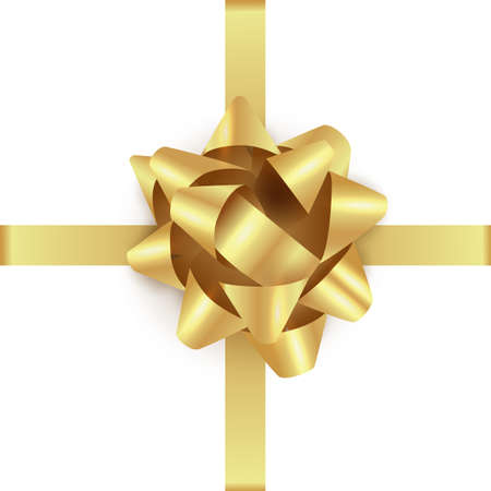 Gold gift bow with ribbon. Realistic golden glowing xmas bow template. Vector christmas illustration