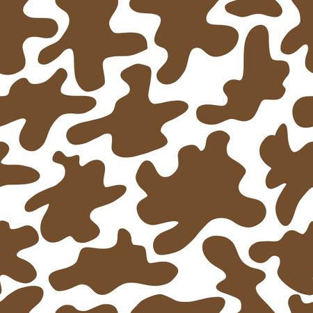 Cow seamless pattern. Black cartoon spots. Dalmatin or moo skin. Vector print