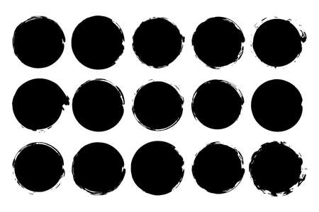 Circle paint grunge splash. Vector round black stain set. Rough ink retro stamp clipart isolated on white