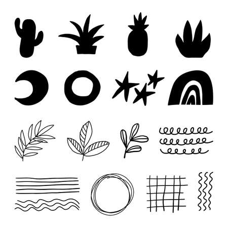 Doodle geometric abstract trendy contemporary black shapes. Vector hand drawn monochrome elemens for kids fabric textile