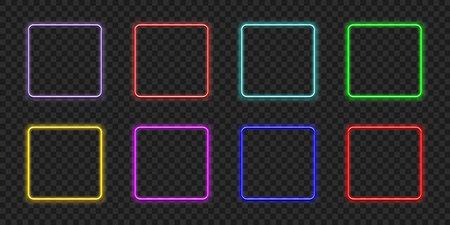 Neon rectangle. Glow frame border. Glossy rectangle on wall. Vector neon shape. Blue light lamp. 3D luminous shine