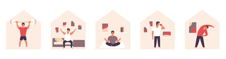 Quarantine activities. Relax yoga sport flat contept. Vector stay home lockdowd concept.