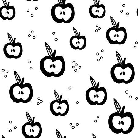 Scandinavian apple seamless pattern. Vector black and white monochrome scandi print. Child trendy background