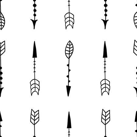 Scandinavian arrow seamless pattern. Vector black and white monochrome scandi print. Child trendy background