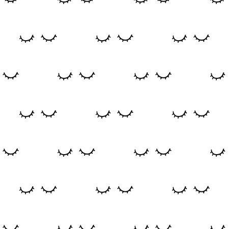Close eyes. Scandinavian seamless pattern. Vector black and white monochrome scandi print. Child trendy background