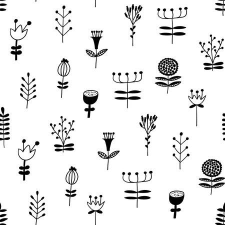 Scandinavian floral seamless pattern. Vector black and white monochrome scandi print. Flower trendy background Illusztráció