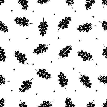 Oak leaves scandinavian seamless pattern. Vector black and white monochrome scandi print. Child trendy background Illusztráció