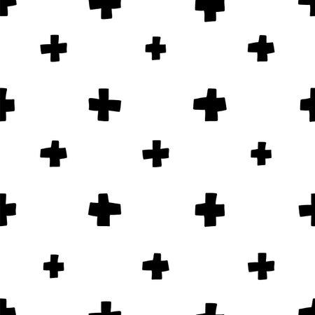 Scandinavian plus seamless pattern. Vector black and white monochrome scandi print. Child trendy background Illusztráció