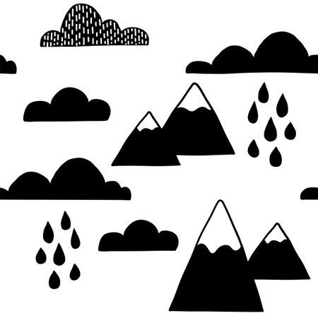 Scandinavian clouds seamless pattern. Vector black and white monochrome scandi print. Child trendy background
