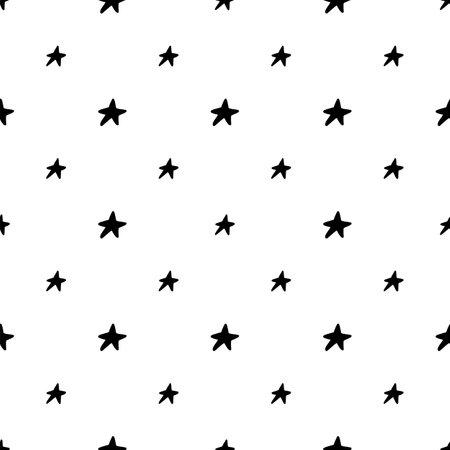 Scandinavian stars seamless pattern. Vector black and white monochrome scandi print. Child trendy background