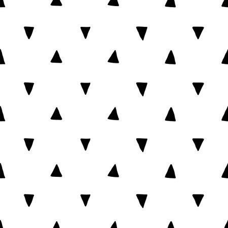 Scandinavian triangle seamless pattern. Vector black and white geometric scandi print. Child trendy background Illusztráció