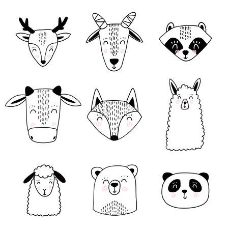 Scandinavian animals. Nordic cute animal set. Vector hand drawn panda Illusztráció